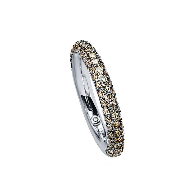 Pavee Ring 750er Weißgold mit braunen Diamanten