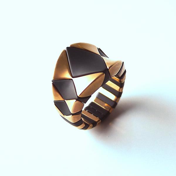 Ring AURA DIVA ceramica - oro