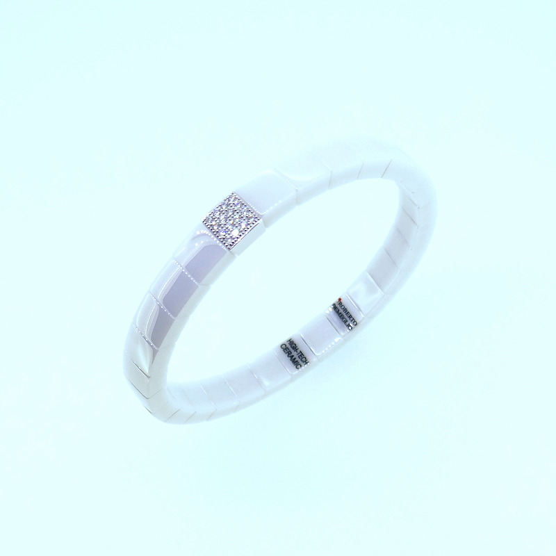 Armreif  SCACCO white polished ceramic whitegold with diamonds