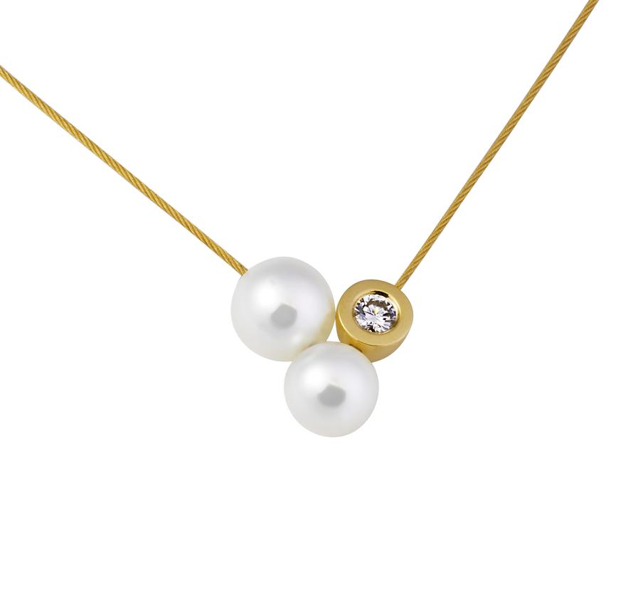 Collier Drilling mit Perlen und Brillant