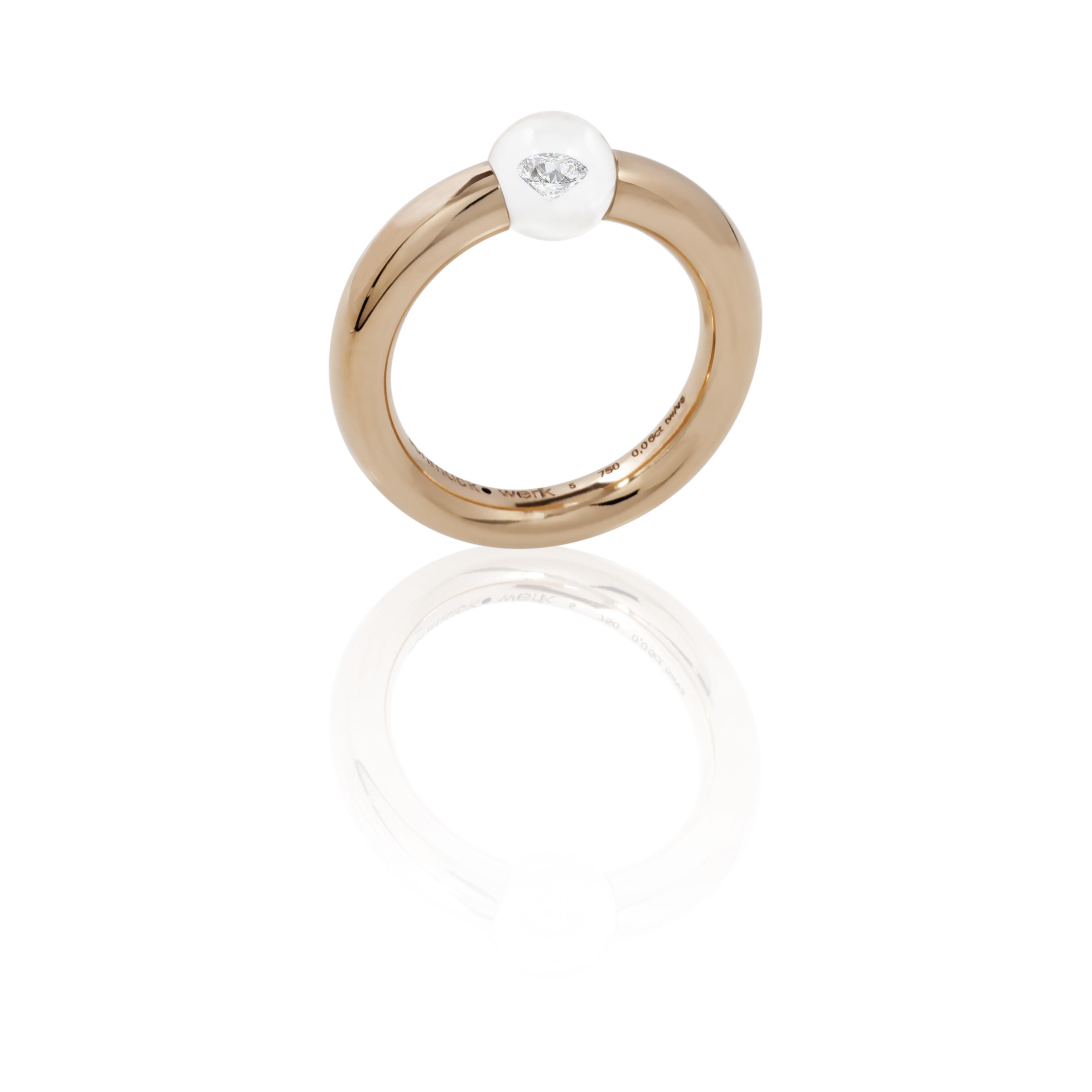 Glasklar Ring  Rotgold