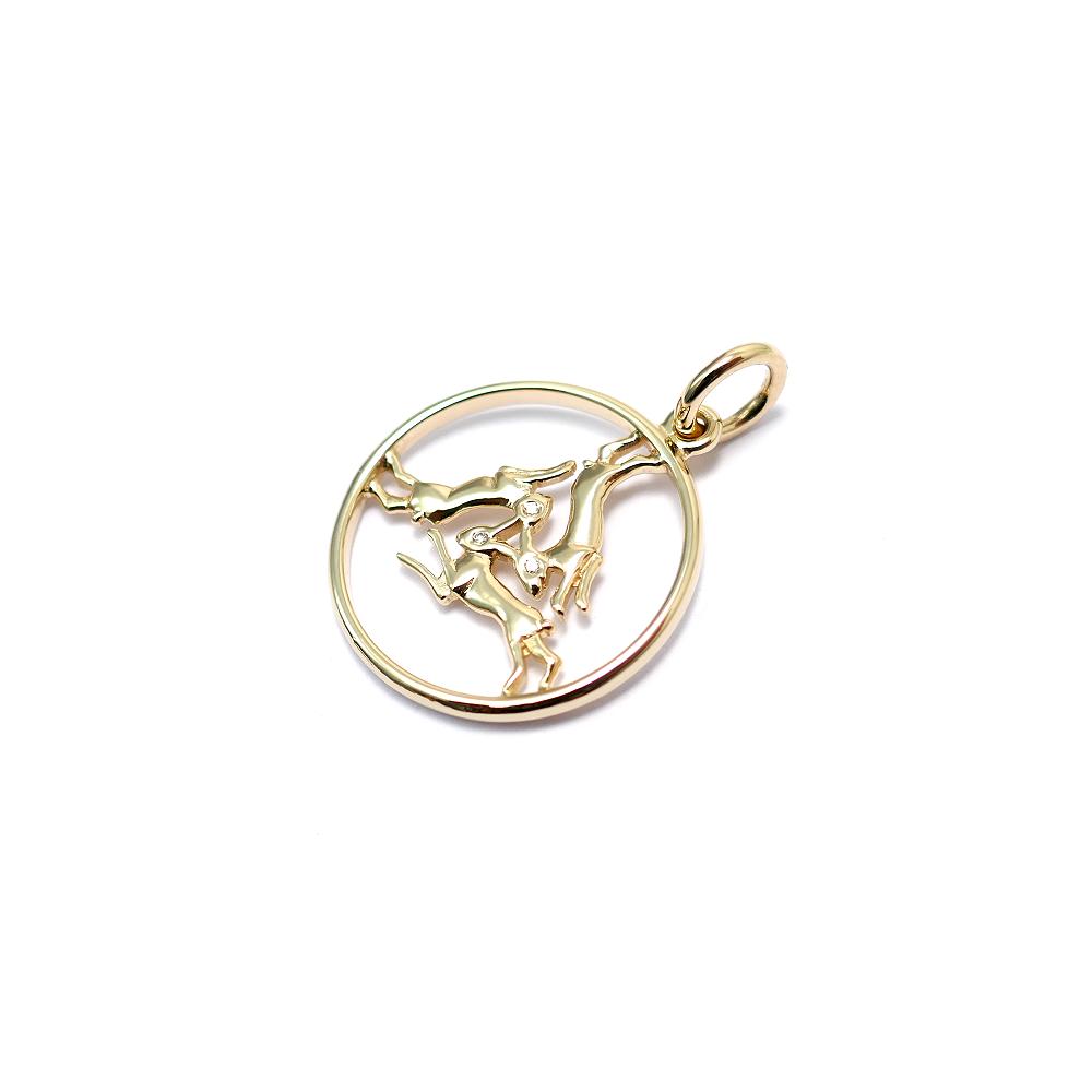 Kleiner Drei Hasen Anhänger 585 Gold mit Diamanten (S)