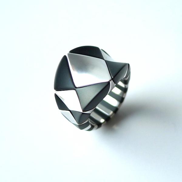 Ring  AURA DIVA, ceramica - oro bianco