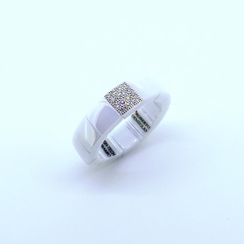 Ring SCACCO ceramica bianca e diamanti