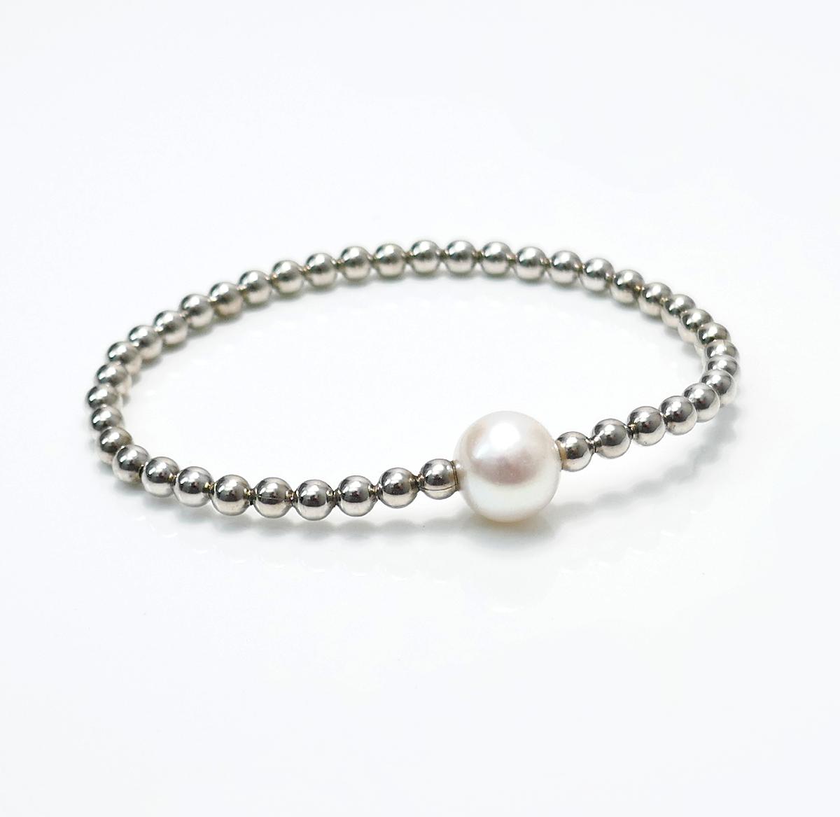 Armband Perle flexi white