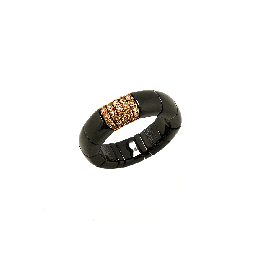 Ring PURA ceramica e Diamanti brown, poliert