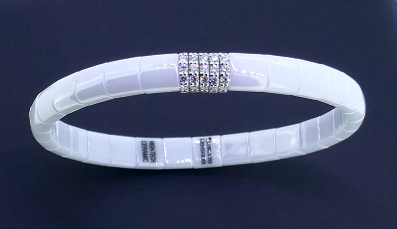Armreif  PURA white polished ceramic whitegold with diamonds