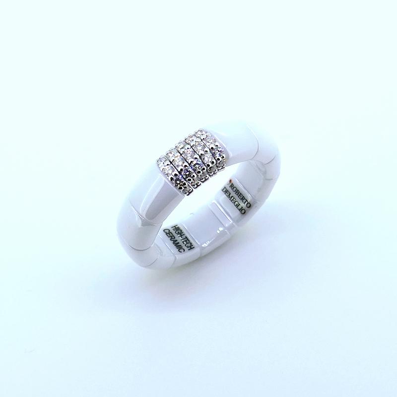 Ring PURA ceramica bianca e diamanti
