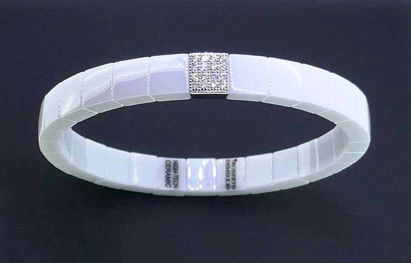 Armreif  SCACCO white polished ceramic whitegold with diamonds