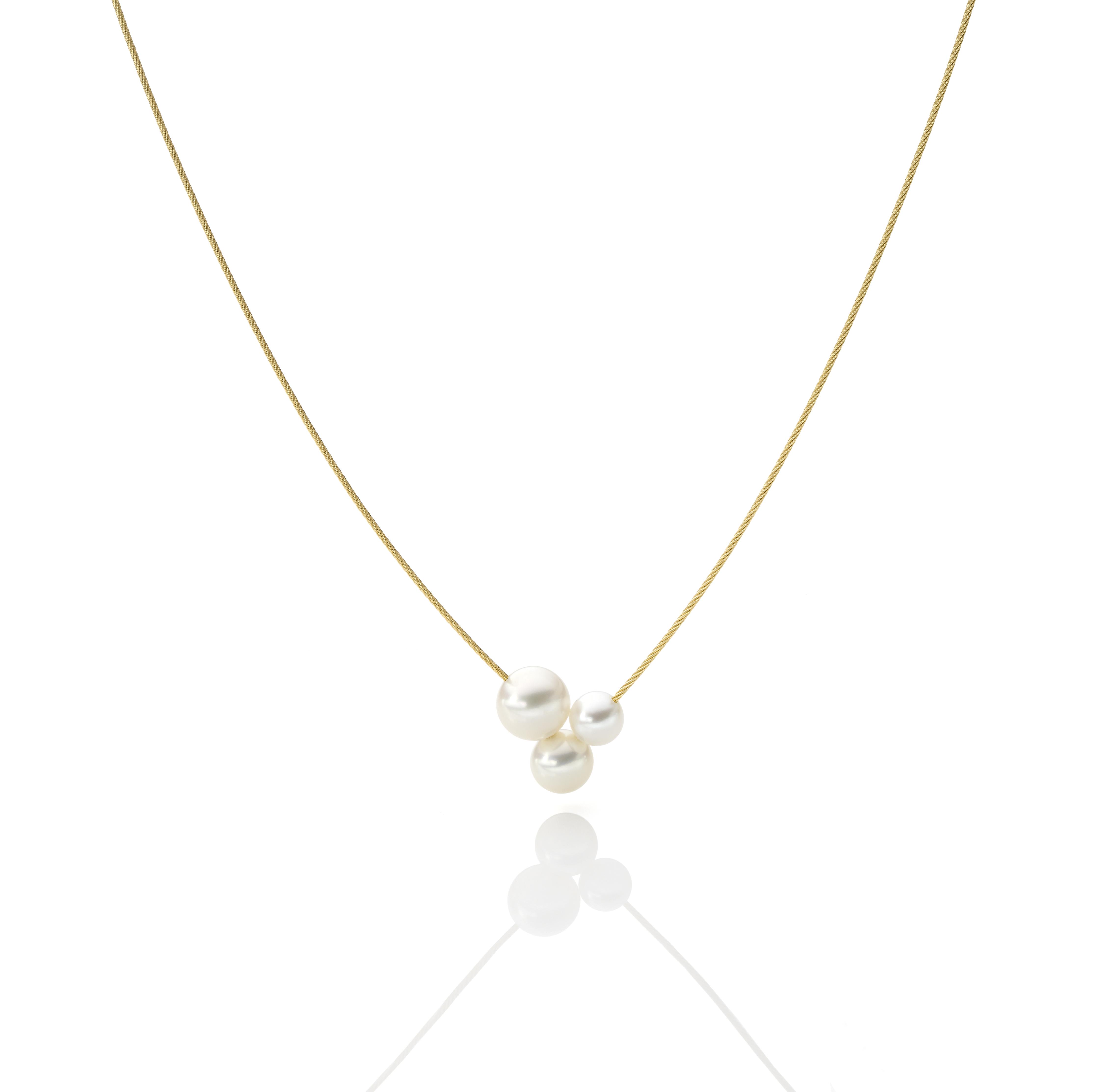 Drilling-Perlen Collier Gelbgold