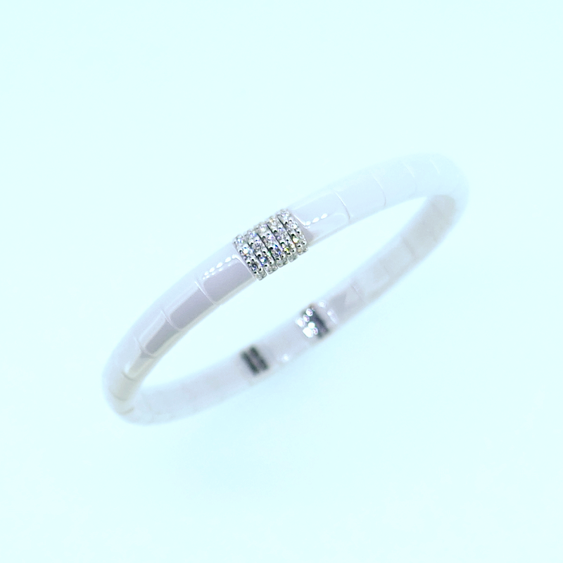 Armreif  PURA white polished ceramic whitegold with diamonds