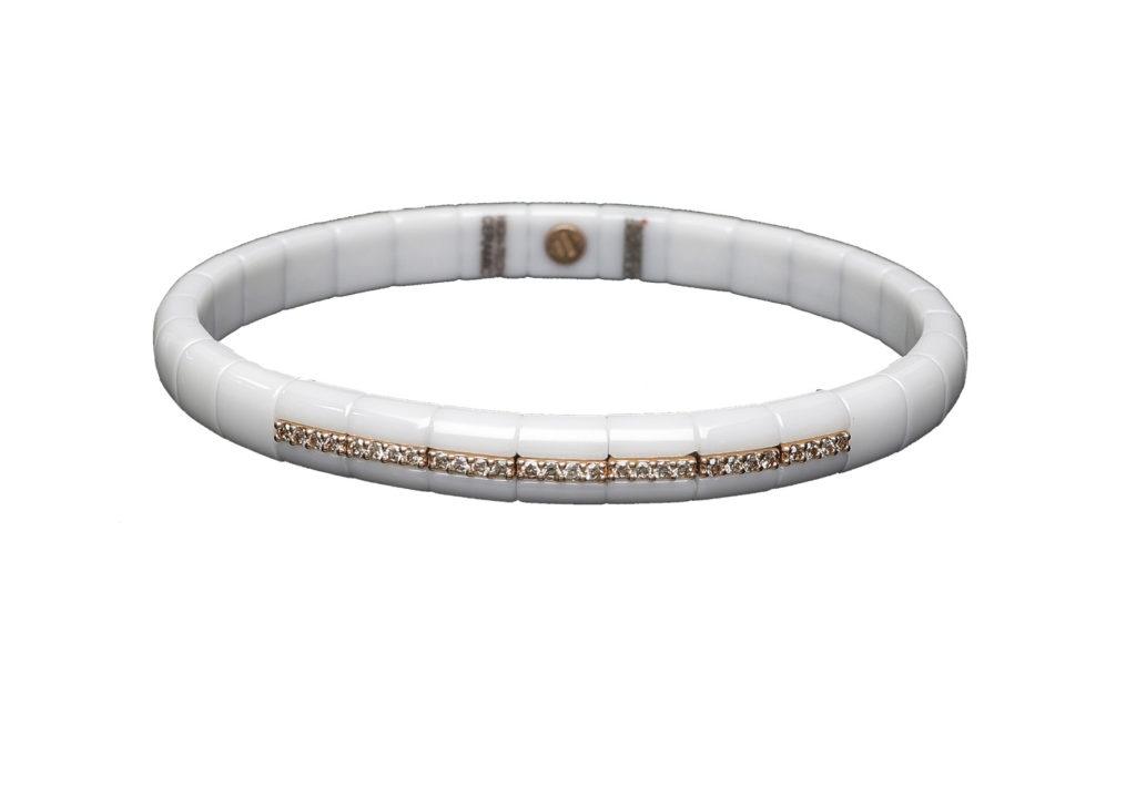 Armreif PURA ceramica bianca e diamanti brown