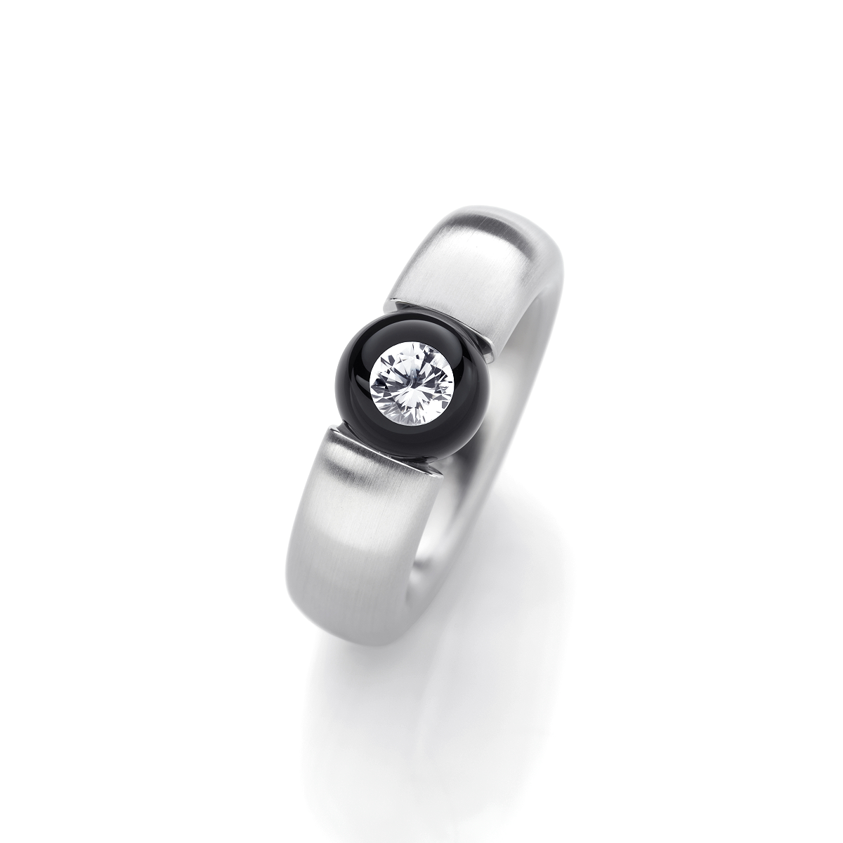 Glasklar Ring Edition 0,10 Carat Schwarz