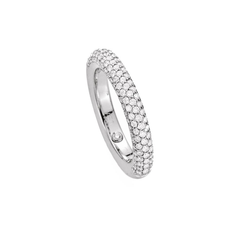 Pavee Ring 750er Weißgold mit Diamantbesatz