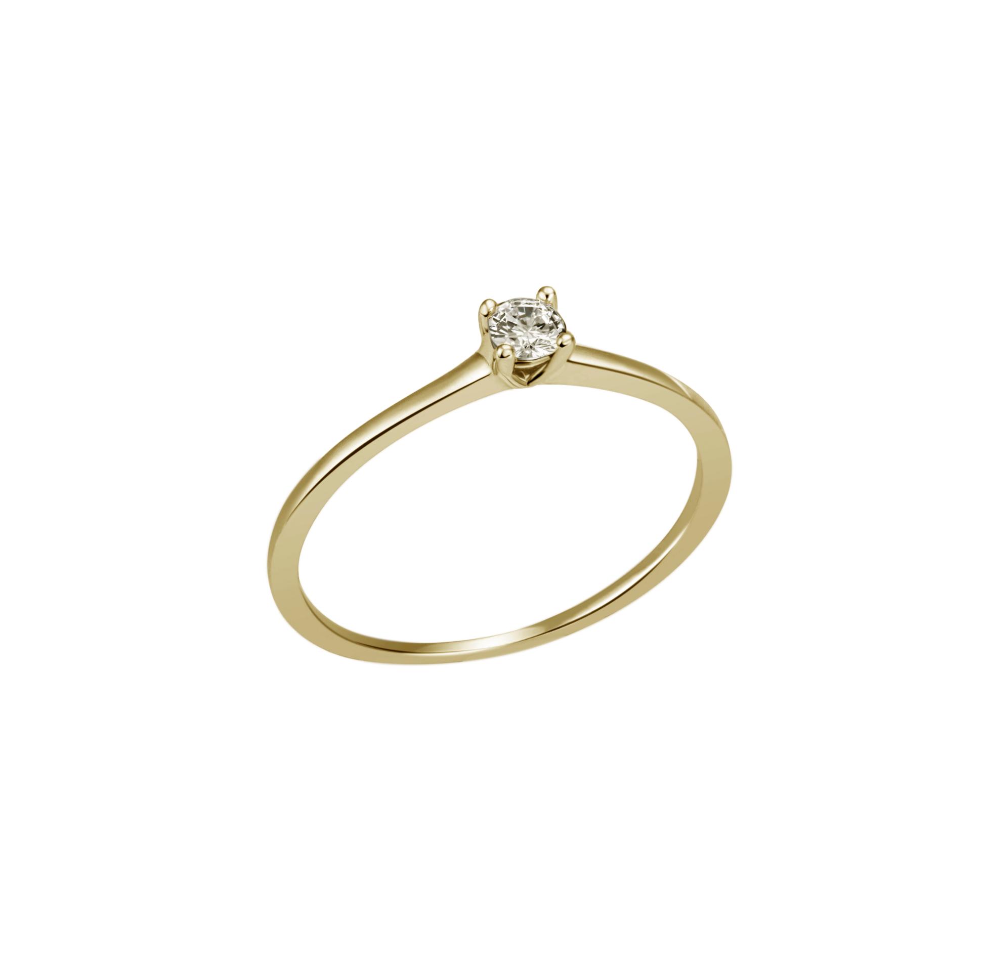 Verlobungsring Gelbgold 4-Krapper 0,10 ct