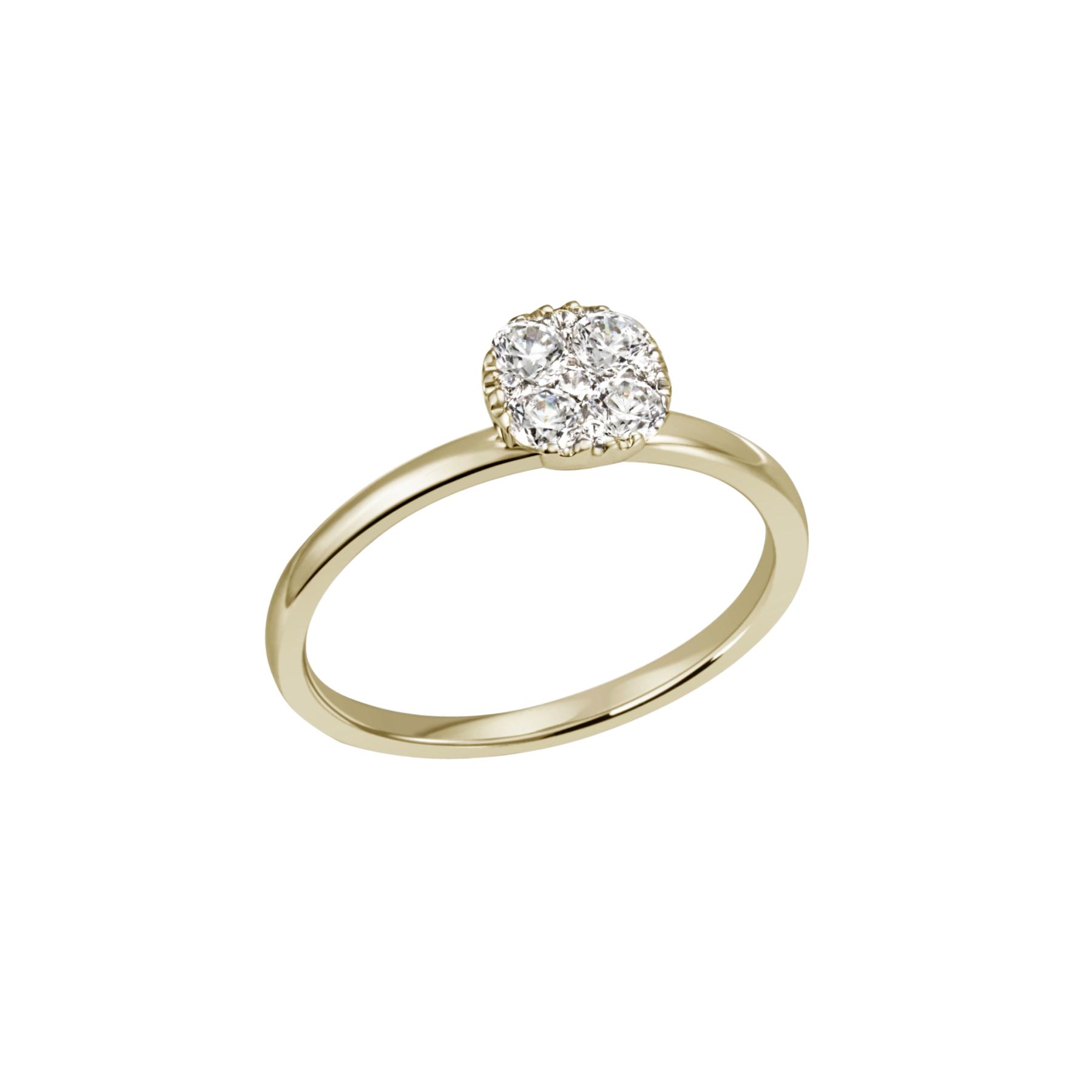 Diana- Diamantring mit Köpfchen in Gelbgold